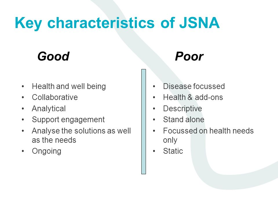 Key characteristics of JSNA Health and well being Collaborative Analytical Support engagement Analyse the solutions as well as the needs Ongoing Disease focussed Health & add-ons Descriptive Stand alone Focussed on health needs only Static GoodPoor