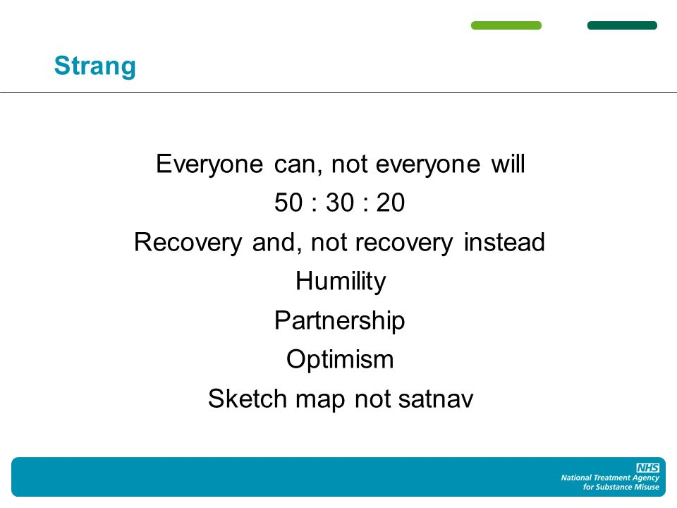 Strang Everyone can, not everyone will 50 : 30 : 20 Recovery and, not recovery instead Humility Partnership Optimism Sketch map not satnav