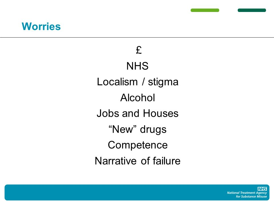 Worries £ NHS Localism / stigma Alcohol Jobs and Houses New drugs Competence Narrative of failure