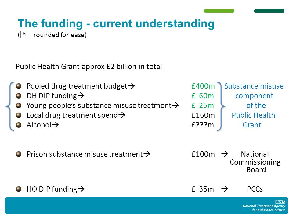 The funding - current understanding ( rounded for ease) Public Health Grant approx £2 billion in total Pooled drug treatment budget £400m Substance misuse DH DIP funding £ 60mcomponent Young peoples substance misuse treatment £ 25m of the Local drug treatment spend £160m Public Health Alcohol £ m Grant Prison substance misuse treatment £100m National Commissioning Board HO DIP funding £ 35m PCCs