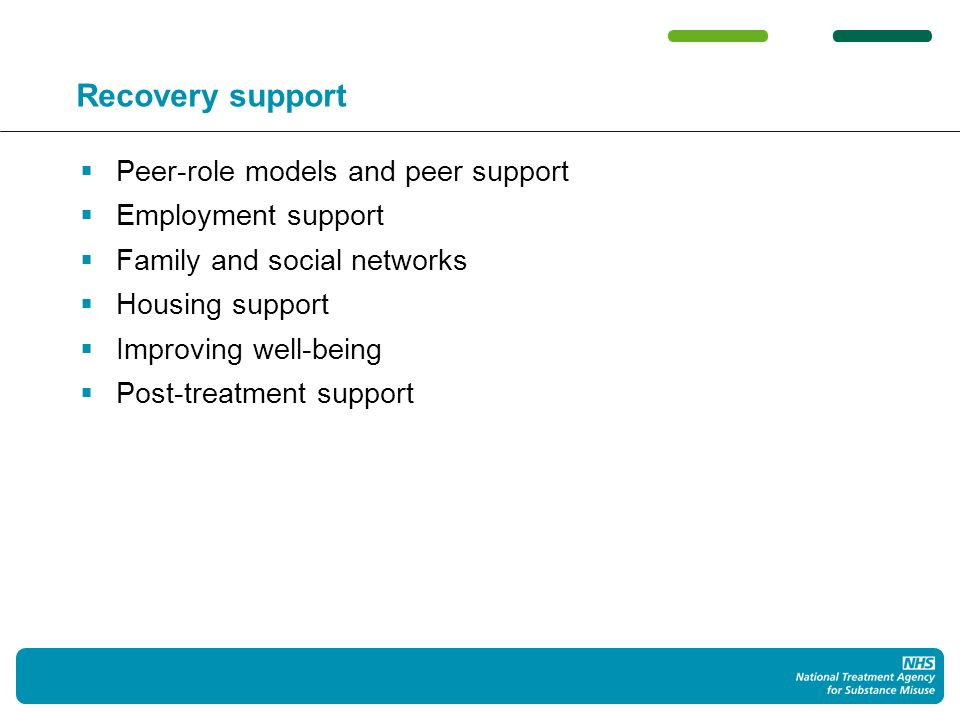 Recovery support Peer-role models and peer support Employment support Family and social networks Housing support Improving well-being Post-treatment support