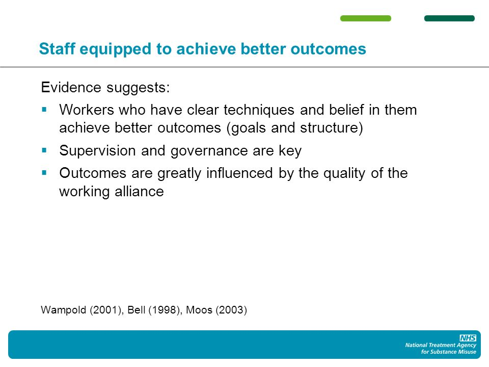 Staff equipped to achieve better outcomes Evidence suggests: Workers who have clear techniques and belief in them achieve better outcomes (goals and structure) Supervision and governance are key Outcomes are greatly influenced by the quality of the working alliance Wampold (2001), Bell (1998), Moos (2003)