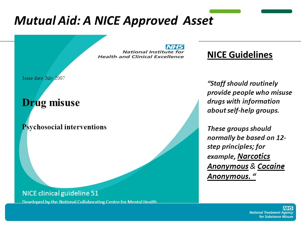 Issue date: July 2007 NICE clinical guideline 51 Developed by the National Collaborating Centre for Mental Health Drug misuse Psychosocial interventions NICE Guidelines Staff should routinely provide people who misuse drugs with information about self-help groups.