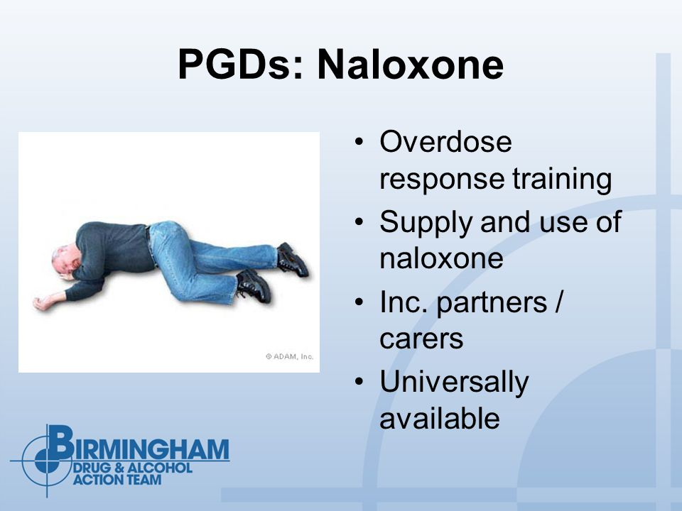 PGDs: Naloxone Overdose response training Supply and use of naloxone Inc.