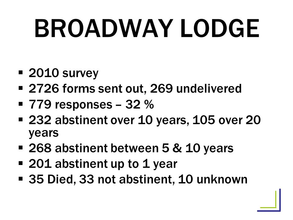 BROADWAY LODGE 2010 survey 2726 forms sent out, 269 undelivered 779 responses – 32 % 232 abstinent over 10 years, 105 over 20 years 268 abstinent between 5 & 10 years 201 abstinent up to 1 year 35 Died, 33 not abstinent, 10 unknown