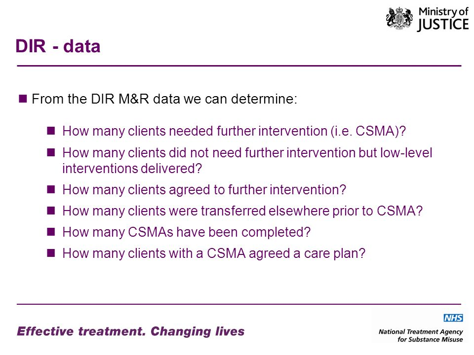 DIR - data From the DIR M&R data we can determine: How many clients needed further intervention (i.e.