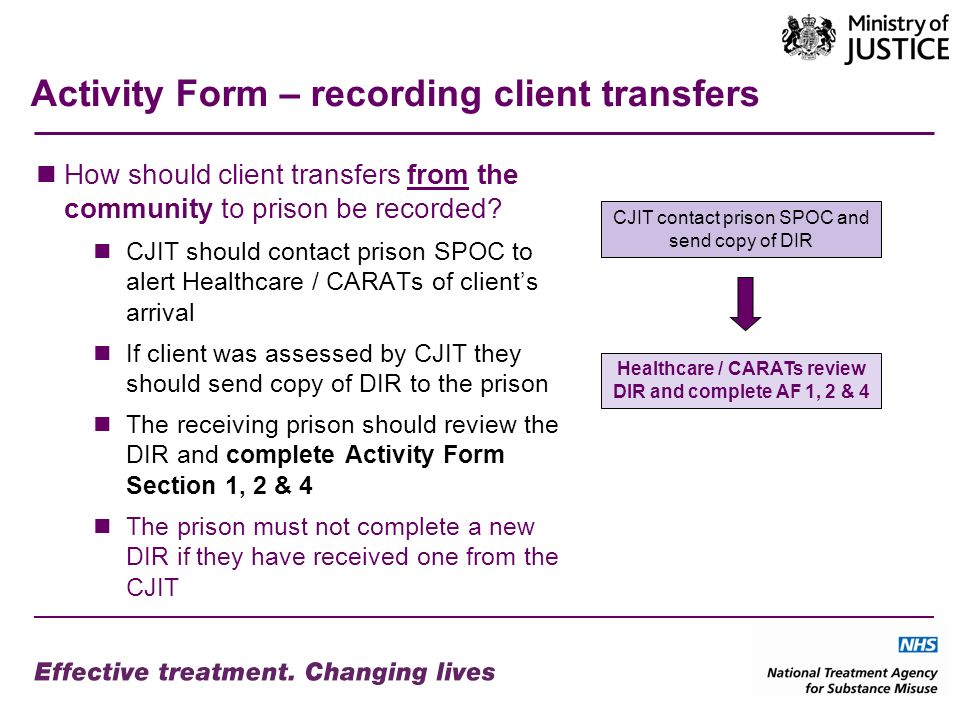 Activity Form – recording client transfers How should client transfers from the community to prison be recorded.