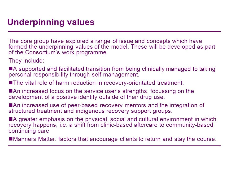 Underpinning values The core group have explored a range of issue and concepts which have formed the underpinning values of the model.