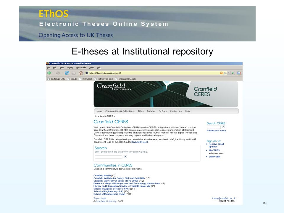 E-theses at Institutional repository PN