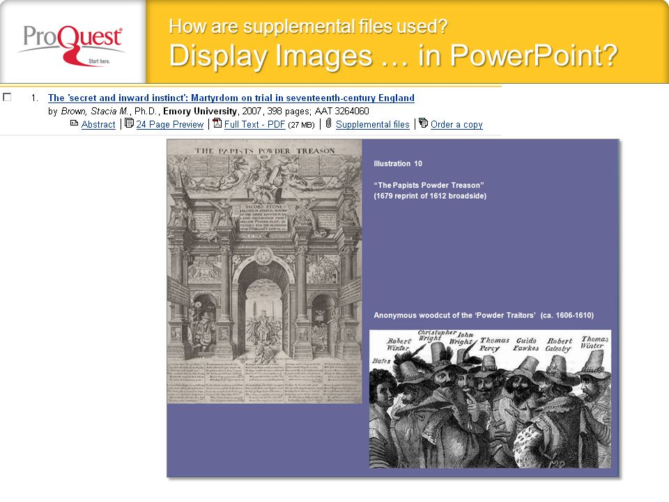 How are supplemental files used Display Images … in PowerPoint