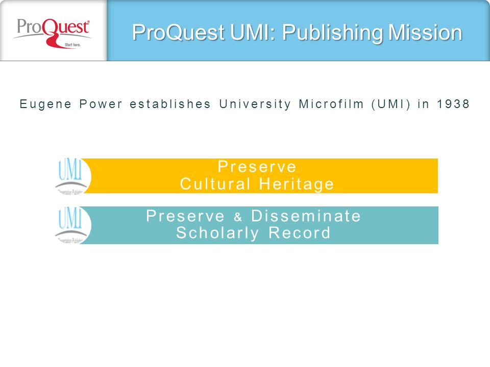 ProQuest UMI: Publishing Mission Preserve Cultural Heritage Preserve & Disseminate Scholarly Record Eugene Power establishes University Microfilm (UMI) in 1938