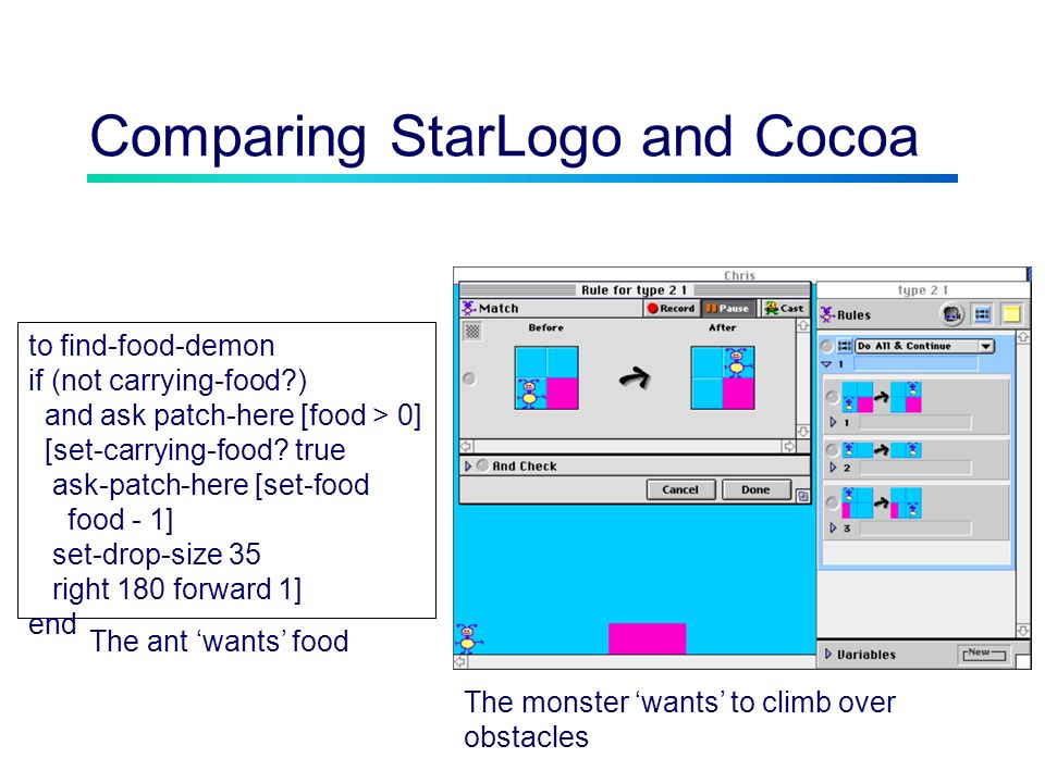 Comparing StarLogo and Cocoa to find-food-demon if (not carrying-food ) and ask patch-here [food > 0] [set-carrying-food.