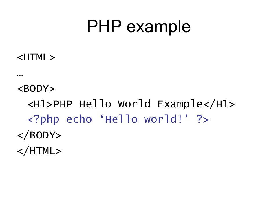 PHP example … PHP Hello World Example