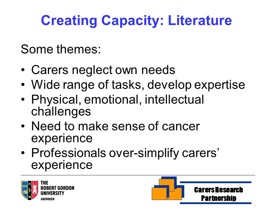 Creating Capacity: Literature Some themes: Carers neglect own needs Wide range of tasks, develop expertise Physical, emotional, intellectual challenges Need to make sense of cancer experience Professionals over-simplify carers experience Carers Research Partnership