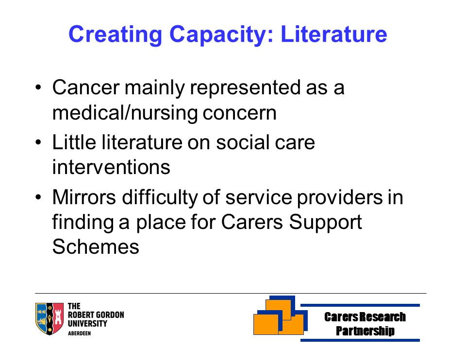 Creating Capacity: Literature Cancer mainly represented as a medical/nursing concern Little literature on social care interventions Mirrors difficulty of service providers in finding a place for Carers Support Schemes Carers Research Partnership