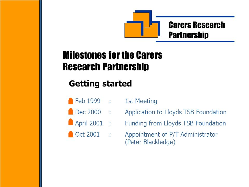 Carers Research Partnership Milestones for the Carers Research Partnership Feb 1999:1st Meeting Dec 2000:Application to Lloyds TSB Foundation April 2001:Funding from Lloyds TSB Foundation Oct 2001:Appointment of P/T Administrator (Peter Blackledge) Getting started