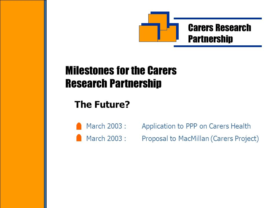 Carers Research Partnership Milestones for the Carers Research Partnership March 2003:Application to PPP on Carers Health March 2003:Proposal to MacMillan (Carers Project) The Future