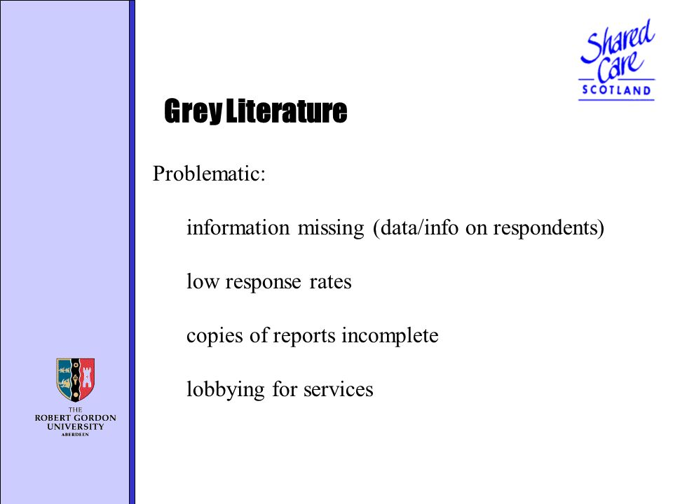 Problematic: information missing (data/info on respondents) low response rates copies of reports incomplete lobbying for services Grey Literature