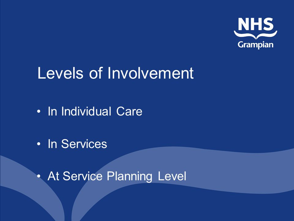 Levels of Involvement In Individual Care In Services At Service Planning Level
