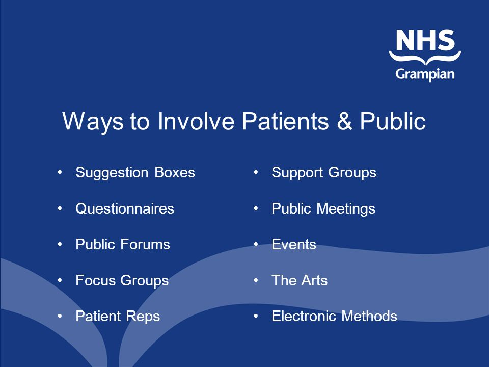 Ways to Involve Patients & Public Suggestion Boxes Questionnaires Public Forums Focus Groups Patient Reps Support Groups Public Meetings Events The Arts Electronic Methods