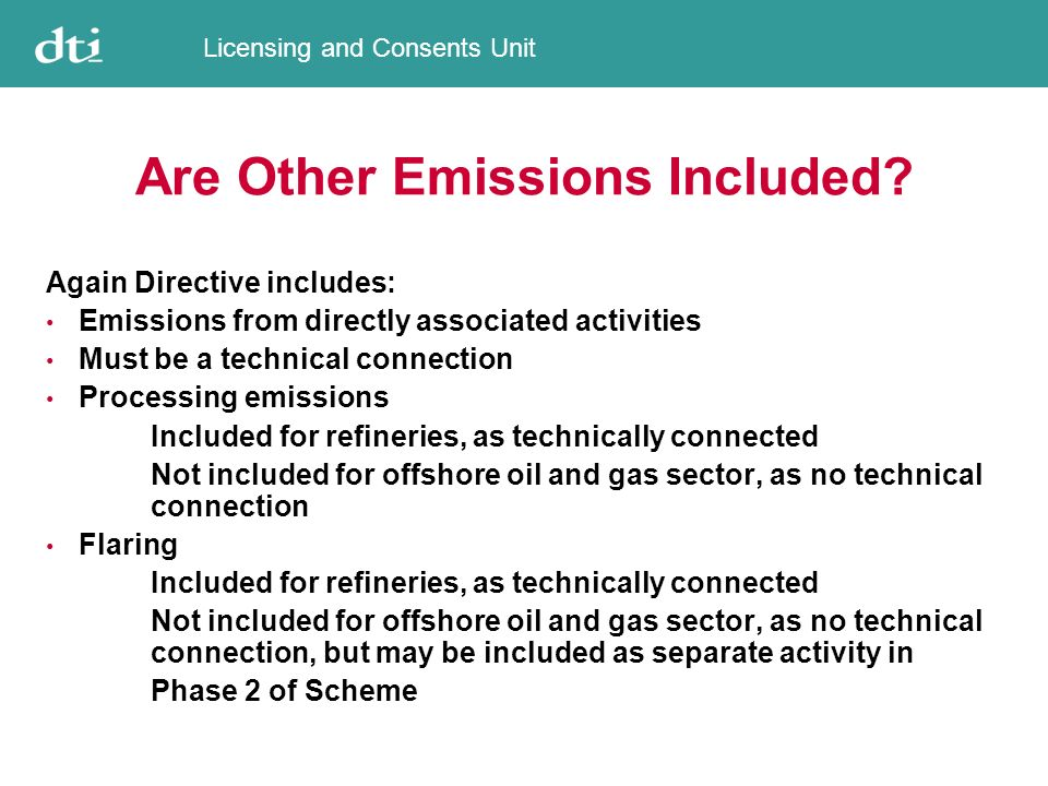 Licensing and Consents Unit Are Other Emissions Included.