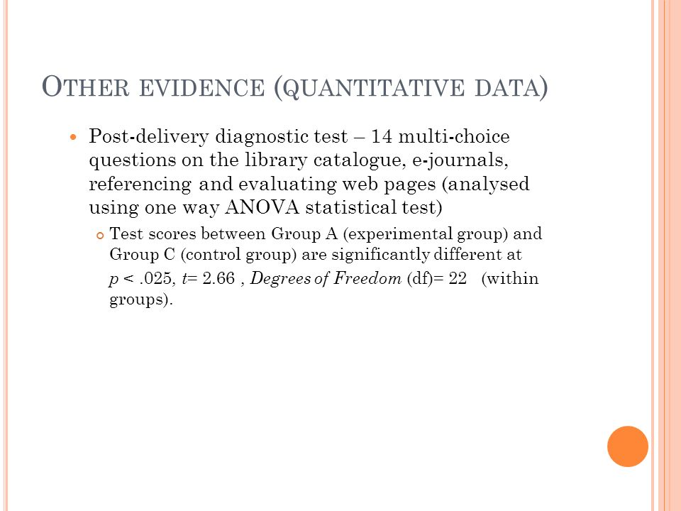 O THER EVIDENCE ( QUANTITATIVE DATA ) Post-delivery diagnostic test – 14 multi-choice questions on the library catalogue, e-journals, referencing and evaluating web pages (analysed using one way ANOVA statistical test) Test scores between Group A (experimental group) and Group C (control group) are significantly different at p <.025, t = 2.66, Degrees of Freedom (df)= 22 (within groups).