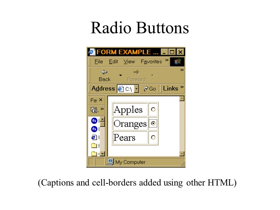 Radio Buttons (Captions and cell-borders added using other HTML)