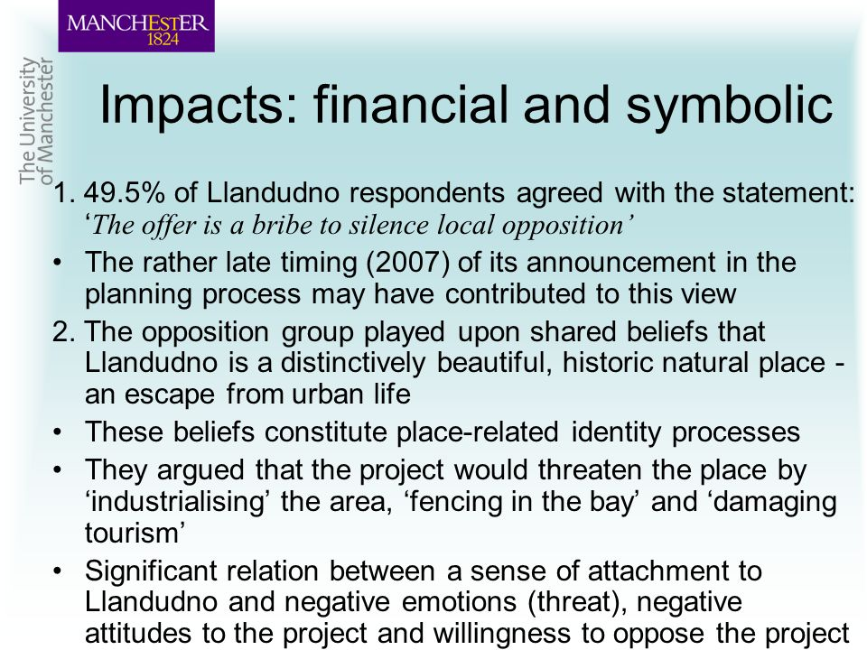 Impacts: financial and symbolic 1.