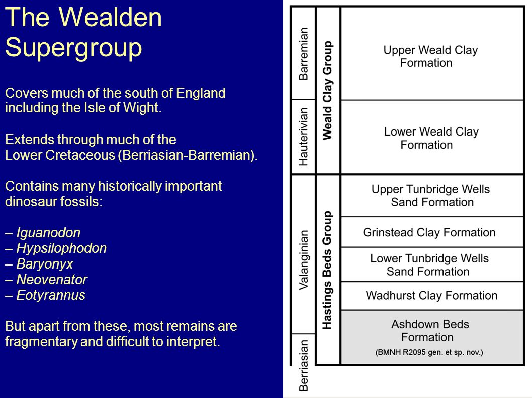 The Wealden Supergroup Covers much of the south of England including the Isle of Wight.