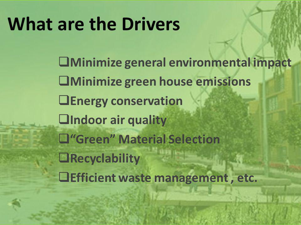 What are the Drivers Minimize general environmental impact Minimize green house emissions Energy conservation Indoor air quality Green Material Selection Recyclability Efficient waste management, etc.