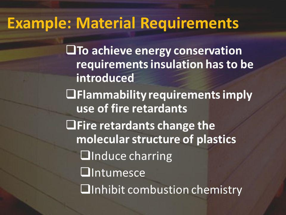 Example: Material Requirements To achieve energy conservation requirements insulation has to be introduced Flammability requirements imply use of fire retardants Fire retardants change the molecular structure of plastics Induce charring Intumesce Inhibit combustion chemistry
