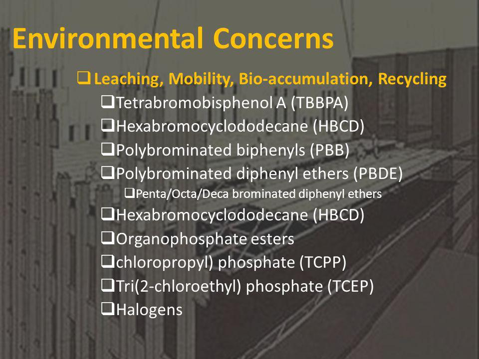 Environmental Concerns Leaching, Mobility, Bio-accumulation, Recycling Tetrabromobisphenol A (TBBPA) Hexabromocyclododecane (HBCD) Polybrominated biphenyls (PBB) Polybrominated diphenyl ethers (PBDE) Penta/Octa/Deca brominated diphenyl ethers Hexabromocyclododecane (HBCD) Organophosphate esters chloropropyl) phosphate (TCPP) Tri(2-chloroethyl) phosphate (TCEP) Halogens