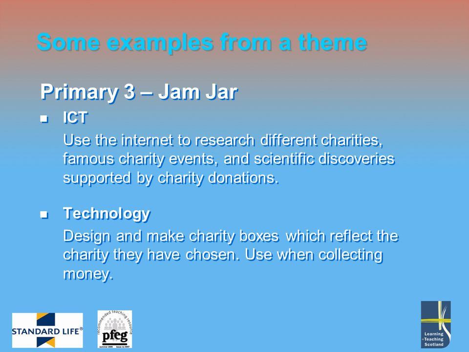 Primary 3 – Jam Jar ICT Use the internet to research different charities, famous charity events, and scientific discoveries supported by charity donations.