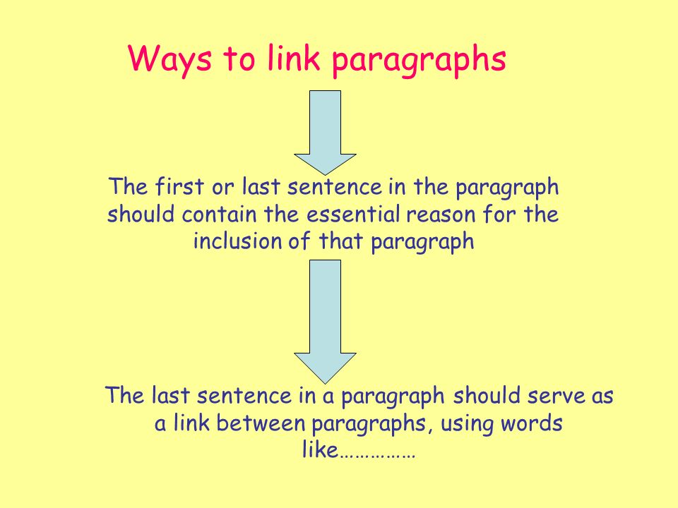 Ways to link paragraphs The first or last sentence in the paragraph should contain the essential reason for the inclusion of that paragraph The last sentence in a paragraph should serve as a link between paragraphs, using words like……………