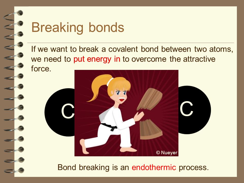 Breaking bonds If we want to break a covalent bond between two atoms, we need to to overcome the attractive force.
