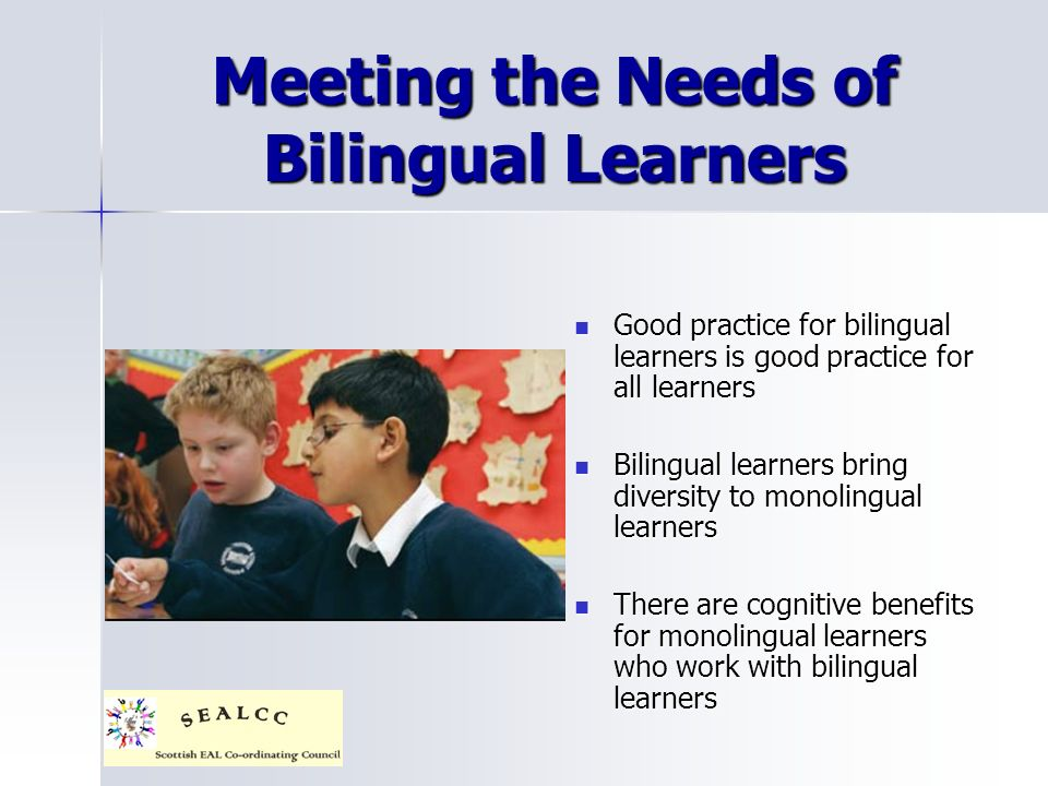 Meeting the Needs of Bilingual Learners Good practice for bilingual learners is good practice for all learners Good practice for bilingual learners is good practice for all learners Bilingual learners bring diversity to monolingual learners Bilingual learners bring diversity to monolingual learners There are cognitive benefits for monolingual learners who work with bilingual learners There are cognitive benefits for monolingual learners who work with bilingual learners
