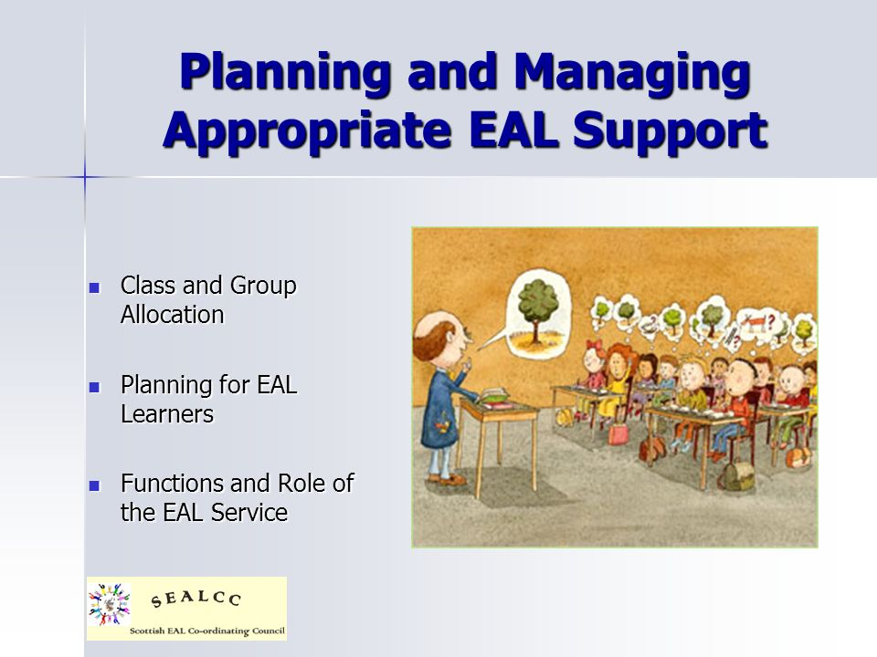 Planning and Managing Appropriate EAL Support Class and Group Allocation Class and Group Allocation Planning for EAL Learners Planning for EAL Learners Functions and Role of the EAL Service Functions and Role of the EAL Service