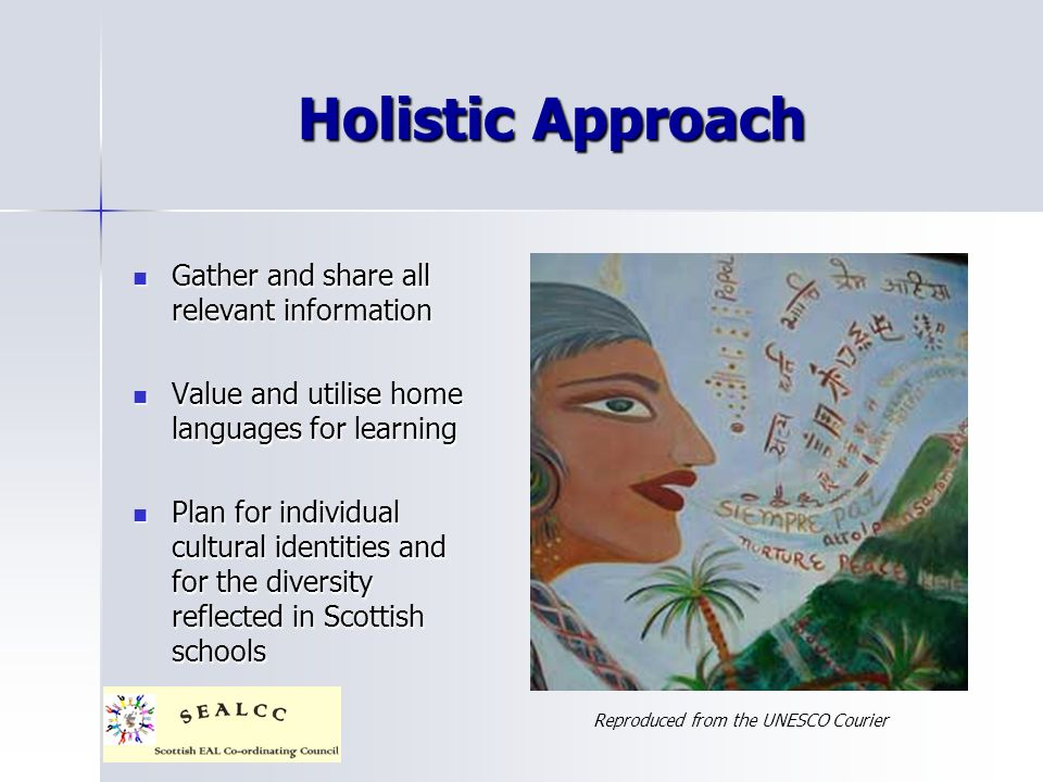Holistic Approach Gather and share all relevant information Gather and share all relevant information Value and utilise home languages for learning Value and utilise home languages for learning Plan for individual cultural identities and for the diversity reflected in Scottish schools Plan for individual cultural identities and for the diversity reflected in Scottish schools Reproduced from the UNESCO Courier