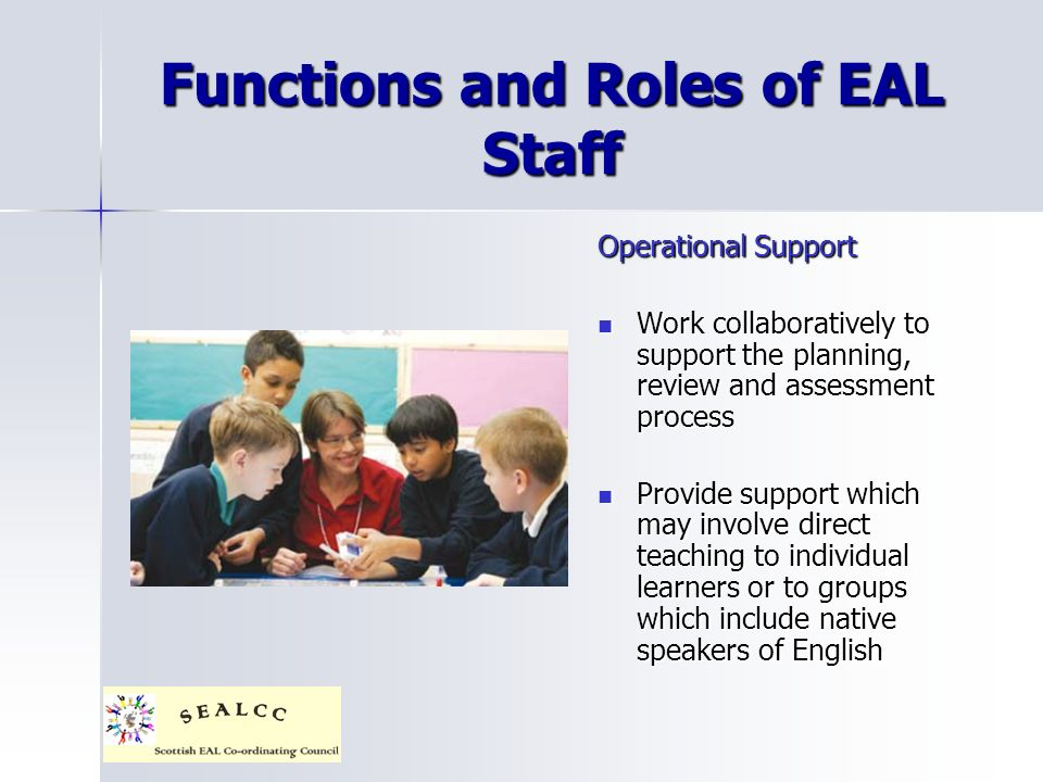 Functions and Roles of EAL Staff Operational Support Work collaboratively to support the planning, review and assessment process Work collaboratively to support the planning, review and assessment process Provide support which may involve direct teaching to individual learners or to groups which include native speakers of English Provide support which may involve direct teaching to individual learners or to groups which include native speakers of English
