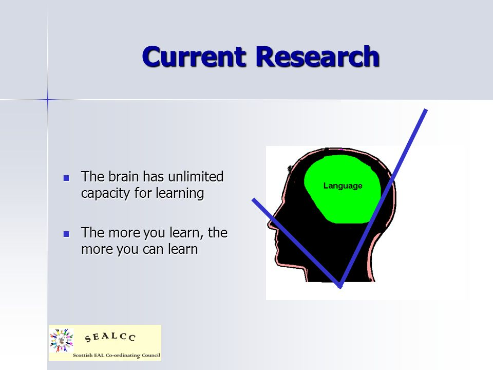 Current Research The brain has unlimited capacity for learning The brain has unlimited capacity for learning The more you learn, the more you can learn The more you learn, the more you can learn