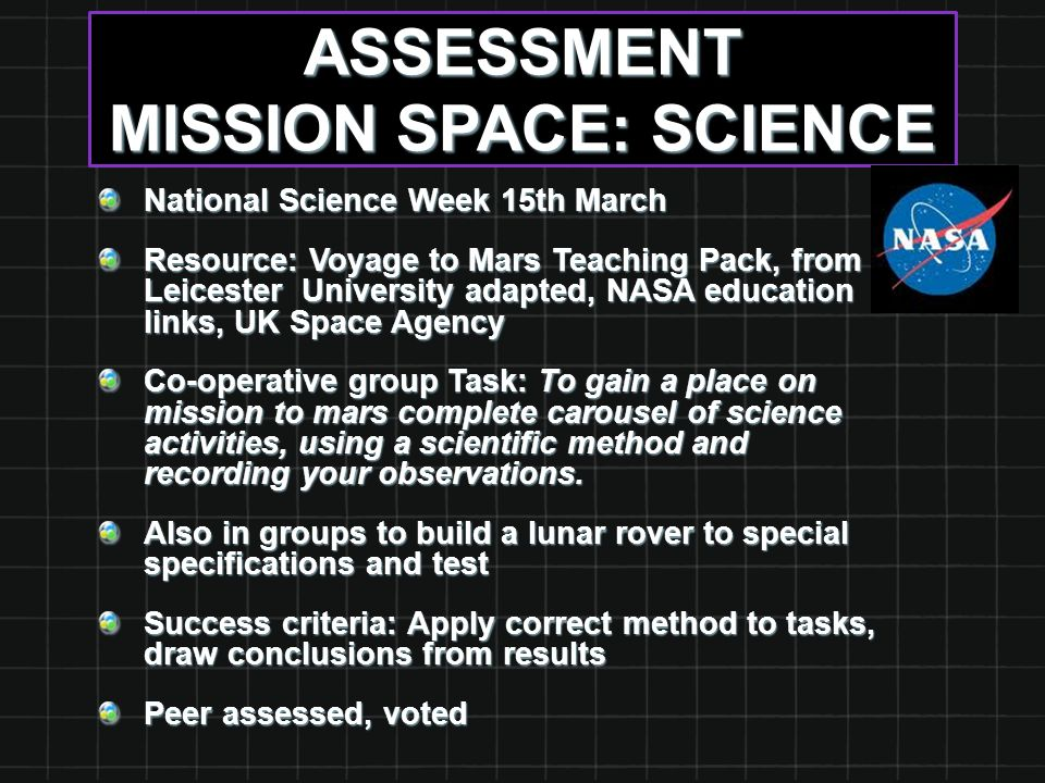 ASSESSMENT MISSION SPACE: SCIENCE National Science Week 15th March Resource: Voyage to Mars Teaching Pack, from Leicester University adapted, NASA education links, UK Space Agency Co-operative group Task: To gain a place on mission to mars complete carousel of science activities, using a scientific method and recording your observations.