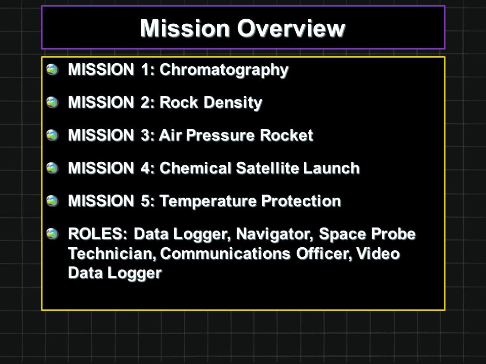 Mission Overview MISSION 1: Chromatography MISSION 2: Rock Density MISSION 3: Air Pressure Rocket MISSION 4: Chemical Satellite Launch MISSION 5: Temperature Protection ROLES: Data Logger, Navigator, Space Probe Technician, Communications Officer, Video Data Logger