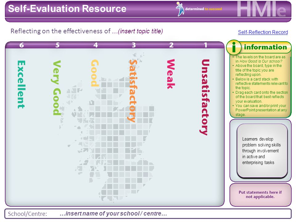 School/Centre: Reflecting on the effectiveness of Self-Evaluation Resource The levels on the board are as in How Good Is Our school.
