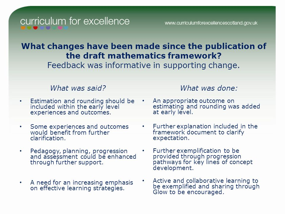 What changes have been made since the publication of the draft mathematics framework.