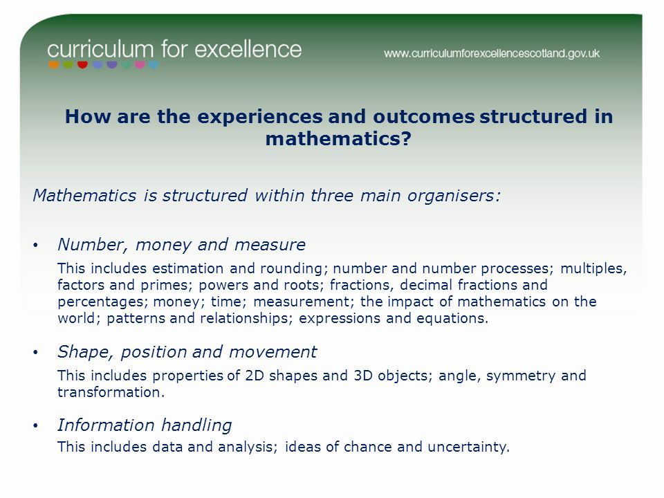 How are the experiences and outcomes structured in mathematics.