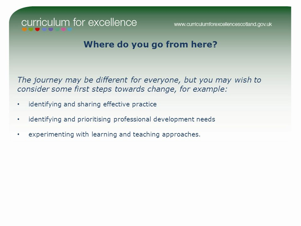 The journey may be different for everyone, but you may wish to consider some first steps towards change, for example: identifying and sharing effective practice identifying and prioritising professional development needs experimenting with learning and teaching approaches.
