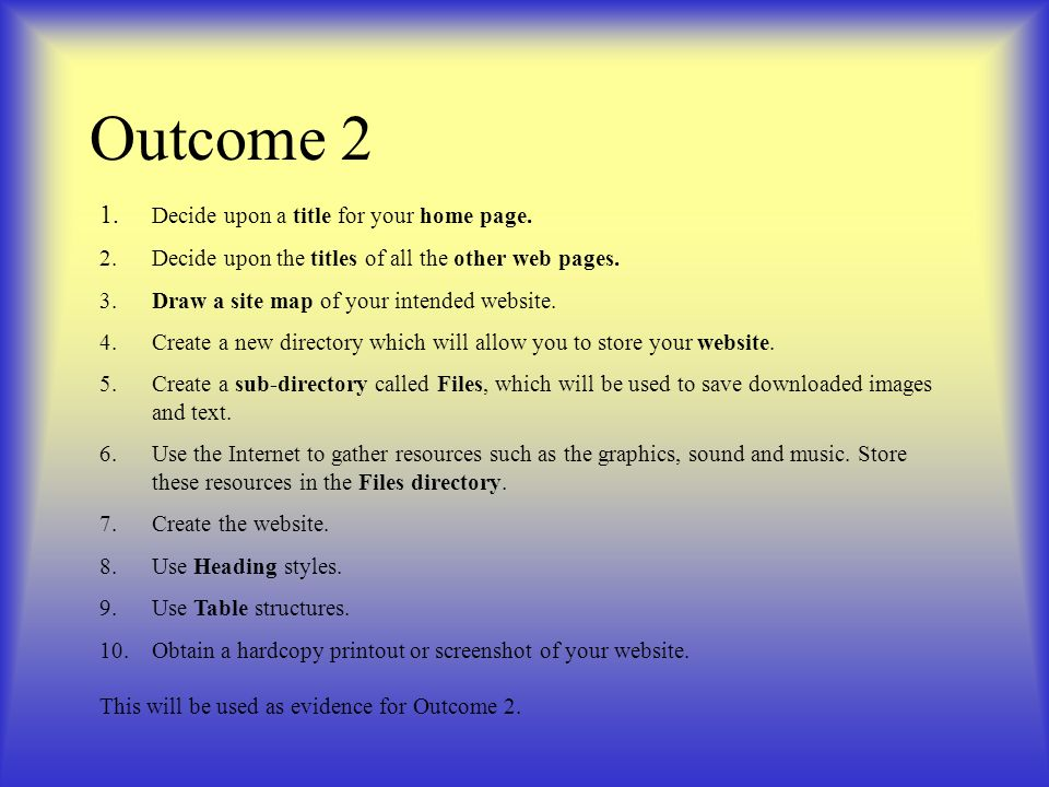 Outcome 2 1. Decide upon a title for your home page.