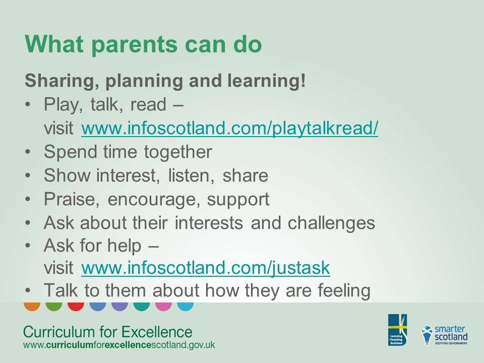 What parents can do Sharing, planning and learning.