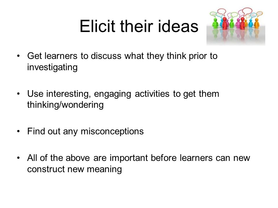 Elicit their ideas Get learners to discuss what they think prior to investigating Use interesting, engaging activities to get them thinking/wondering Find out any misconceptions All of the above are important before learners can new construct new meaning