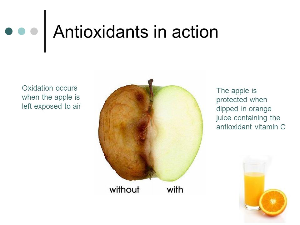 Antioxidants in action Oxidation occurs when the apple is left exposed to air The apple is protected when dipped in orange juice containing the antioxidant vitamin C